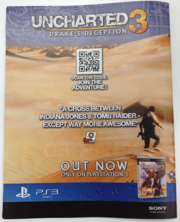 QR Code Example – Uncharted 3: Drake's Deception on the Cover of ShortList